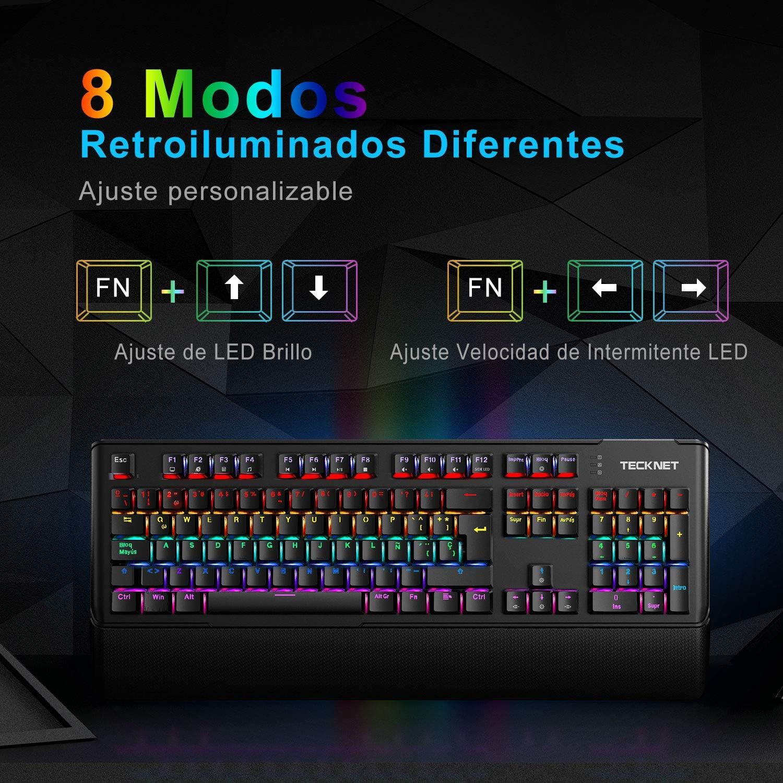 TECKNET Teclado Mecánico Gaming Teclado Gaming Español Switches Marrón Led Multicolor con 8 Modos de iluminación, 105 Teclas 100% Anti-ghosting, ...