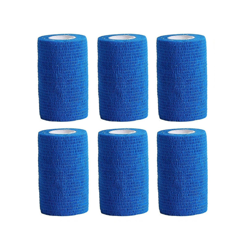 Premier Soccorso elastico adesivo per bendaggio 6 rotoli x 10 cm x 4, 5 m Blu COBOX 10-450cm