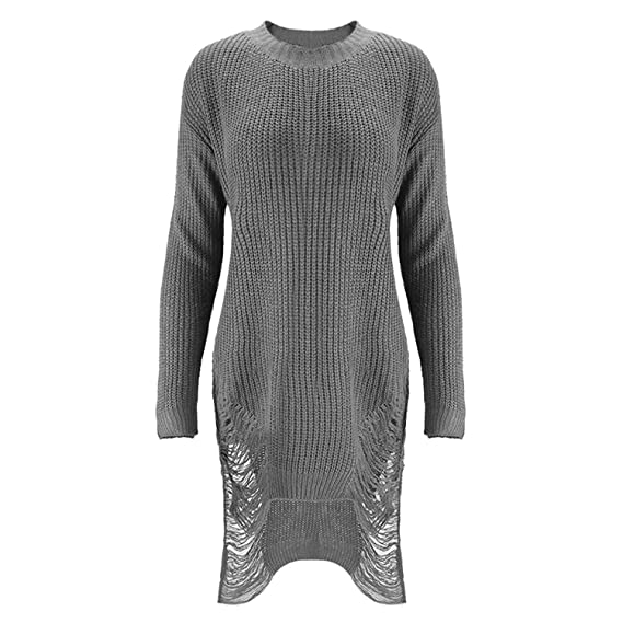 41f4a2f2deb Women Sexy Ripped Hole Knitted Sweater Dress Long Sleeve Casual Pullover  Tops Outwear at Amazon Women s Clothing store