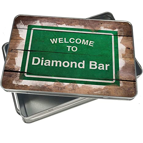 1160cc17a Amazon.com: NEONBLOND Cookie Box Green Road Sign Welcome To Diamond Bar  Christmas Metal Container: Kitchen & Dining