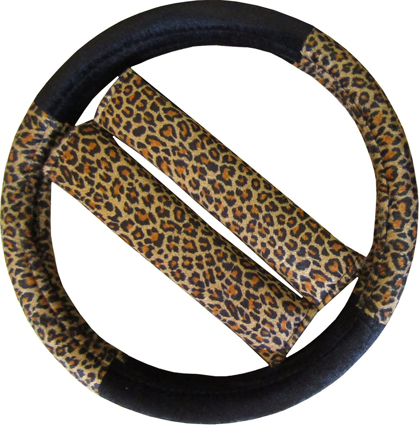 XtremeAuto® Leopard Print Car Steering Cover Glove + Seat Belt Harness Pads XtremeAuto®