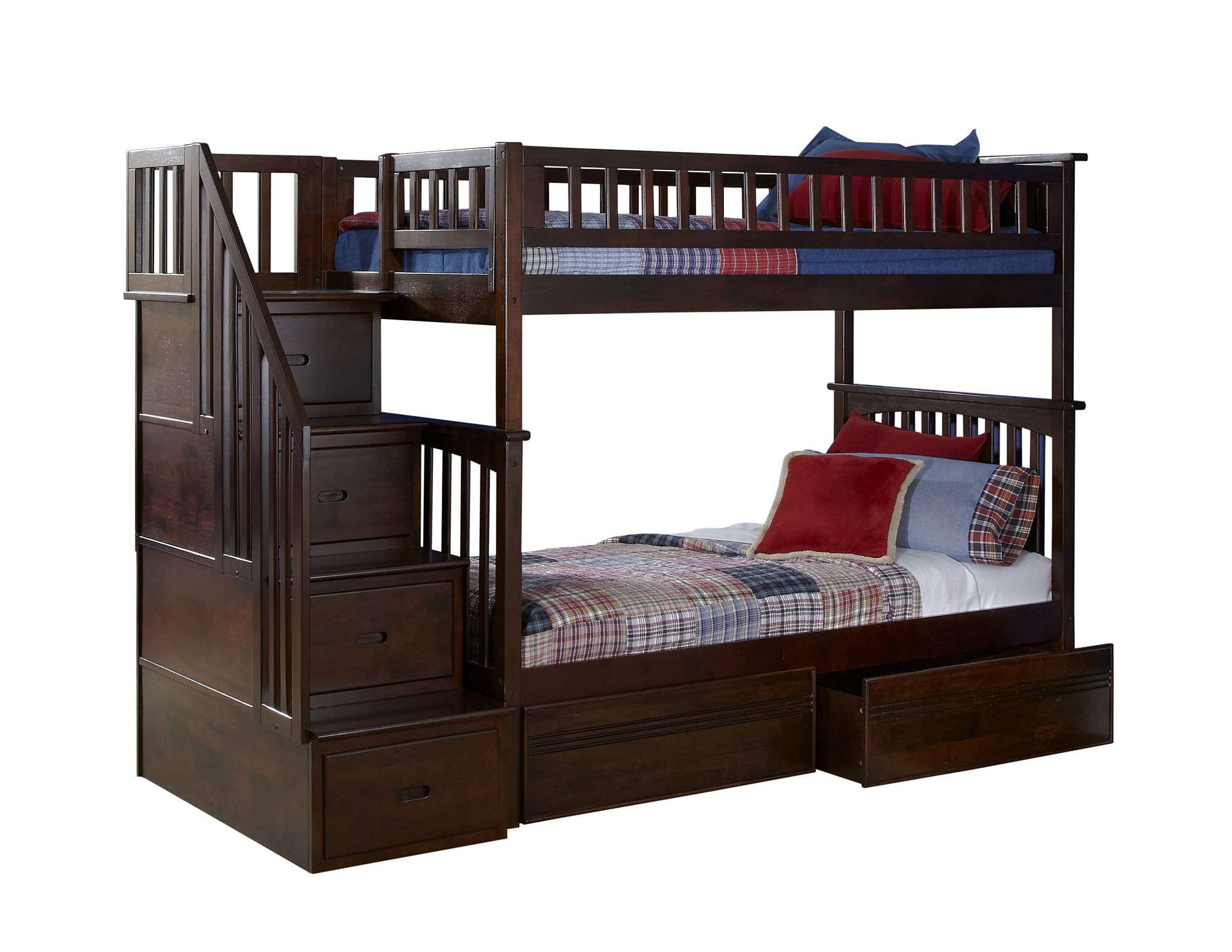 Columbia Staircase Bunk Bed with 2 Raised Panel Bed Drawers, Twin Over Twin, Antique Walnut