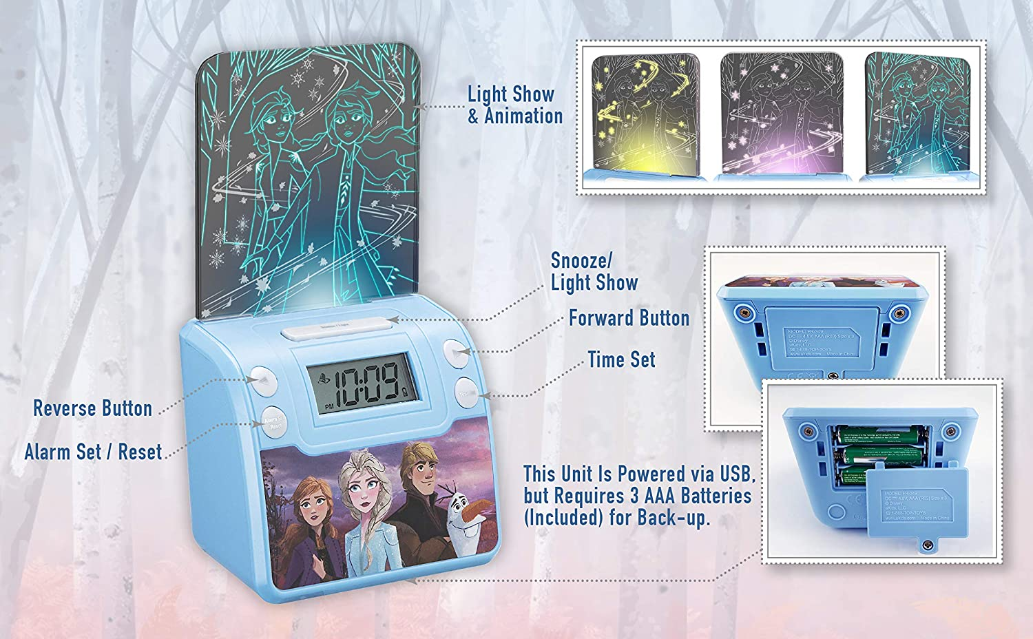 Battery Backup Nightlight LED Light Show Animations Alarm Clocks for Kids Bedrooms USB Charger Frozen 2 Digital Alarm Clock with Night Light Snooze Wake to Buzzer
