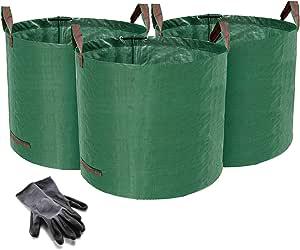 Norjews - Juego de 3 Sacos de jardín (120 L, Tejido de Polipropileno (PP) Resistente al Agua, de pie y Plegable, Incluye 1 par de Guantes de jardín): Amazon.es: Jardín