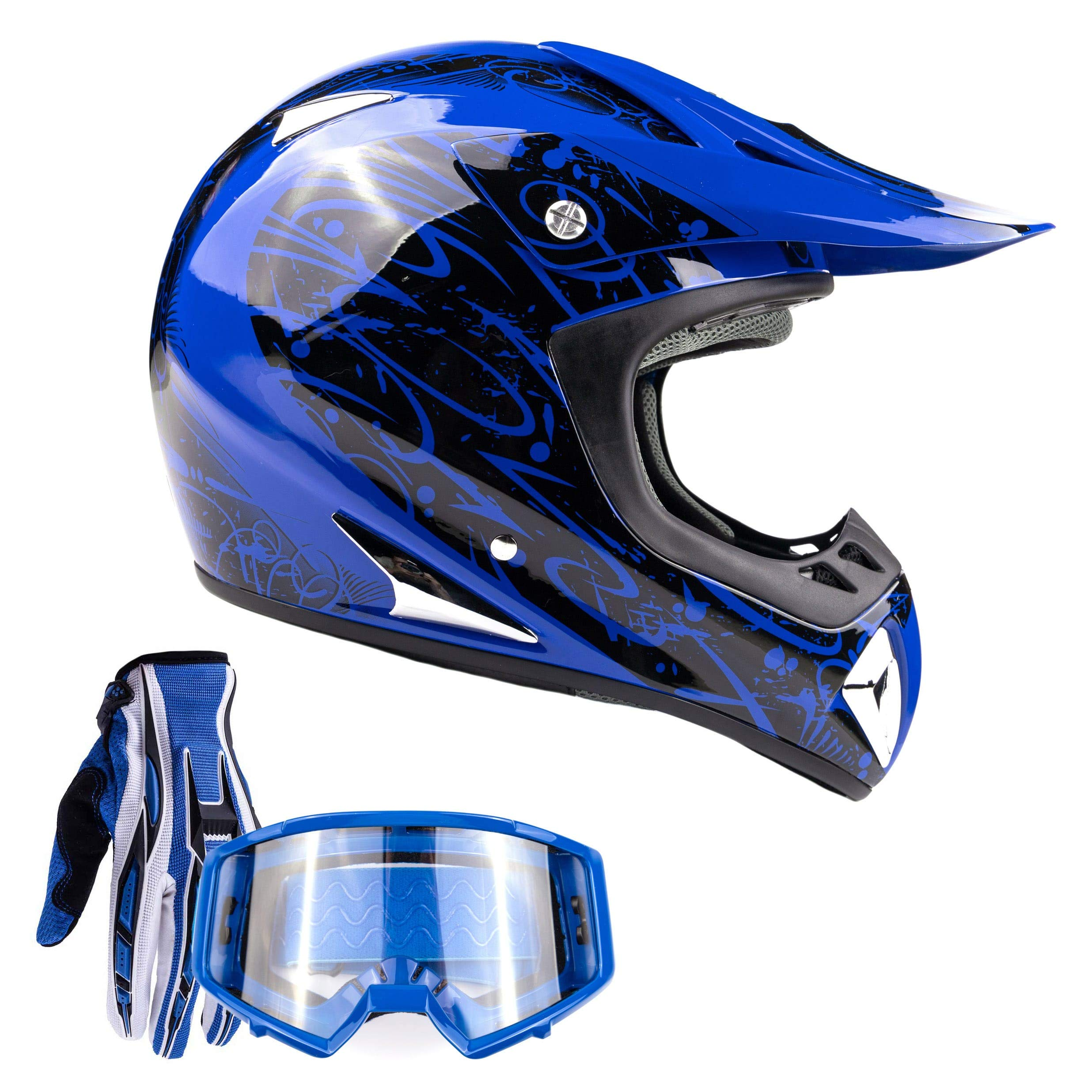 Typhoon Adult ATV MX Helmet Goggles Gloves Gear Combo Black Blue