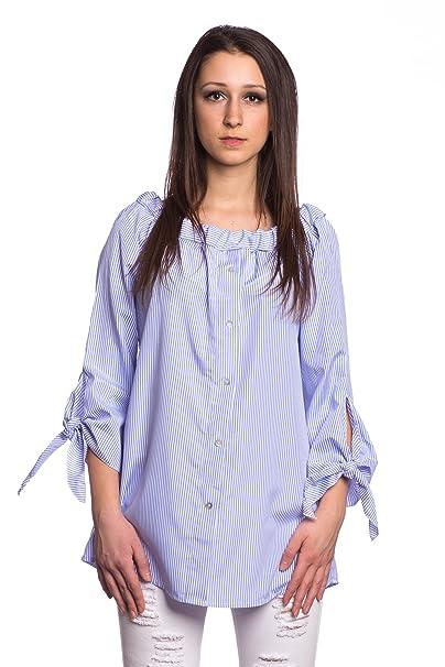 Abbino 16392 Blusa Top para Mujer - Hecho en ITALIA - 2 Colores - Entretiempo Primavera