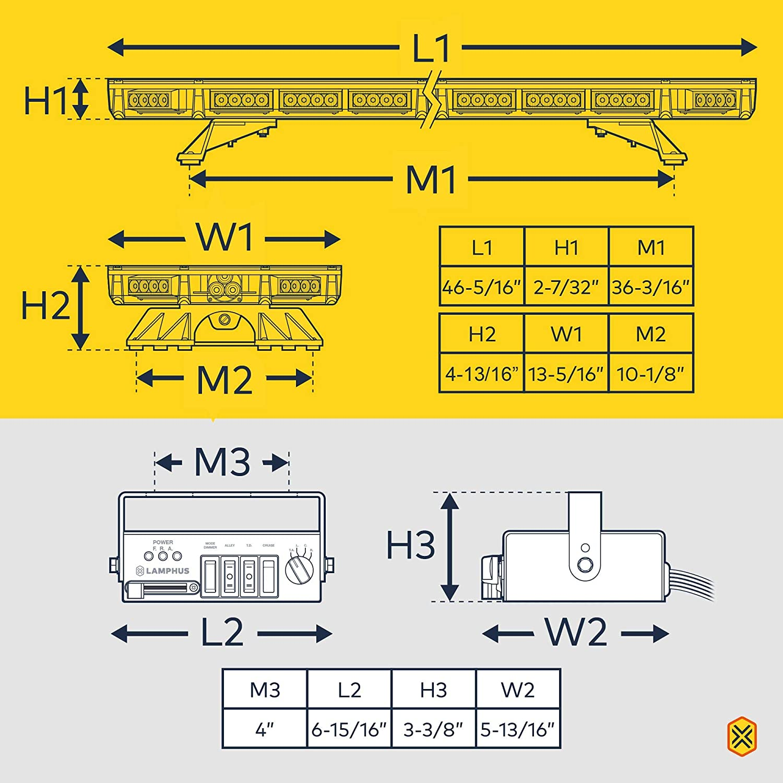 58 Flash Mode Yellow Flashing Rooftop Strobe Warning Light Bar LAMPHUS SolarBlast SBFB82 37 82W Amber LED Emergency Full-Size Light Bar Gutter Bracket SAE J595 Class III Controller Box