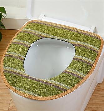 Blau ZGJ AFFE Winter Wasserdicht W/ärmer Waschbar Toiletten Abdeckung Sitz Deckel Pad Mat