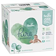 Diapers Size 1, 198 Count - Pampers Pure Disposable Baby Diapers, Hypoallergenic and Unscented Protection, ONE Month Supply