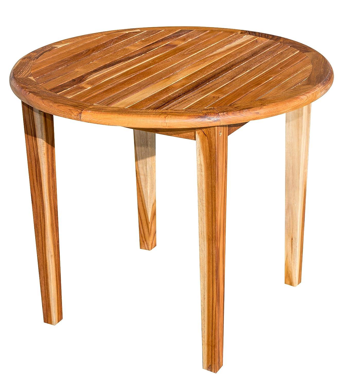 "EcoDecors RD-TB-1 Oasis Round Teak Dining Table Indoor & Outdoor 36"" Diameter Brown"