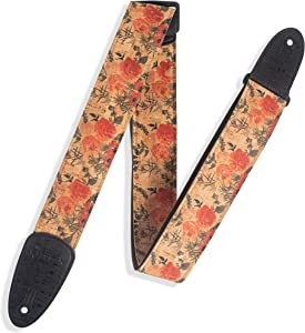 "Levy's Leathers 2"" Wide Vegan Friendly Natural Cork Guitar Strap; Red Wildflower Pattern (MX8-001)"