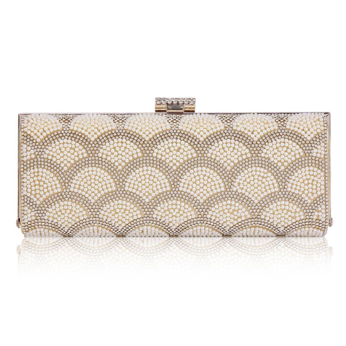 Damara Womens Clasp-top Hardcase Interlaced Beads Clutch Evening Bag,Gold