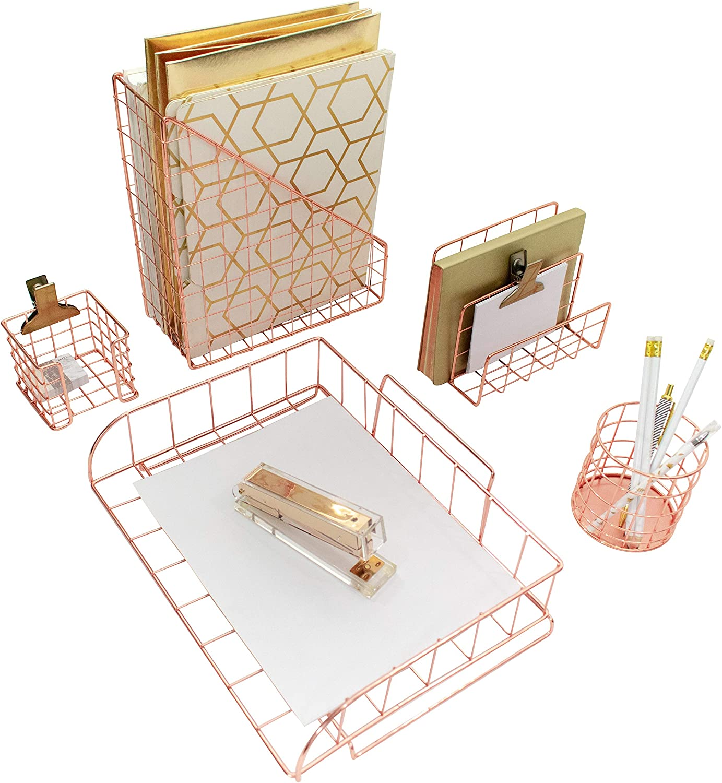 Blu Monaco Office Supplies Rose Gold Desk Accessories for Women - 5 Piece Wire Rose Gold Desk Organizer Set – Letter Sorter, Paper Tray, Pen Cup, Magazine File, Sticky Note Holder