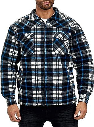 EGOMAXX Camisa térmica para Hombres Chaqueta Leñador A Cuadros Fleece Franela