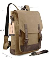 Jack&Chris Canvas Leather Laptop Backpack Rucksack Satchel Bag 2 Way to Carry,MC6914