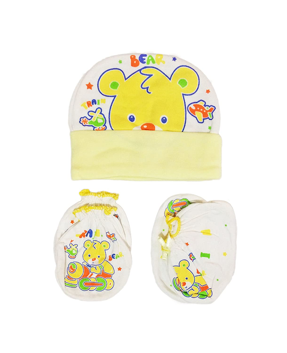 1d382441442 Babysid Collections Mitten Set for Newborn Babies Mitten Booties and Cap  Set Girls Boys 100% Cotton Cream Bear Made in Thailand  Amazon.in  Clothing    ...