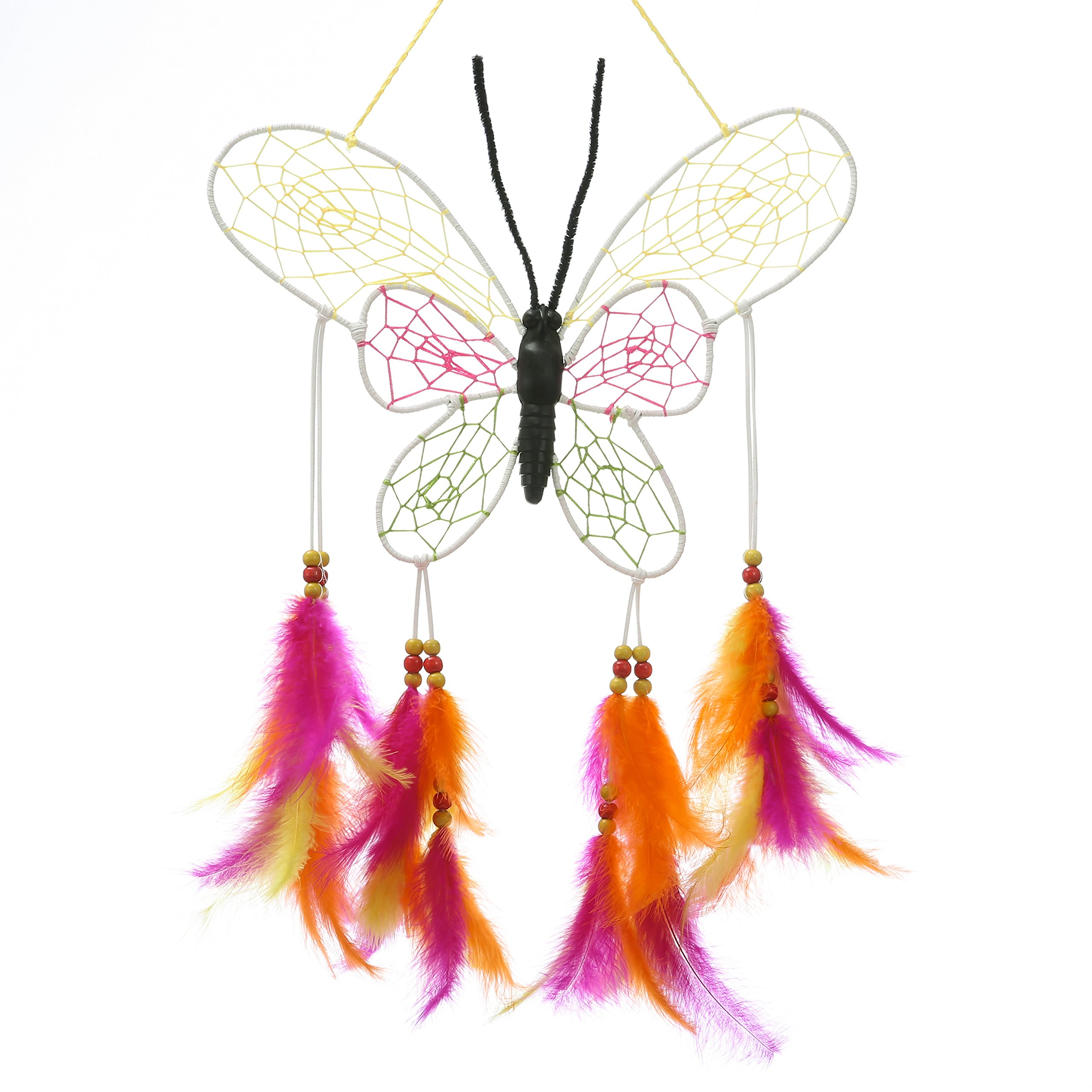 Laddawan rainbow butterfly Dream Catcher for wall ,window,car,decoration.Handmade mesures 16.1inches total length(colourful)