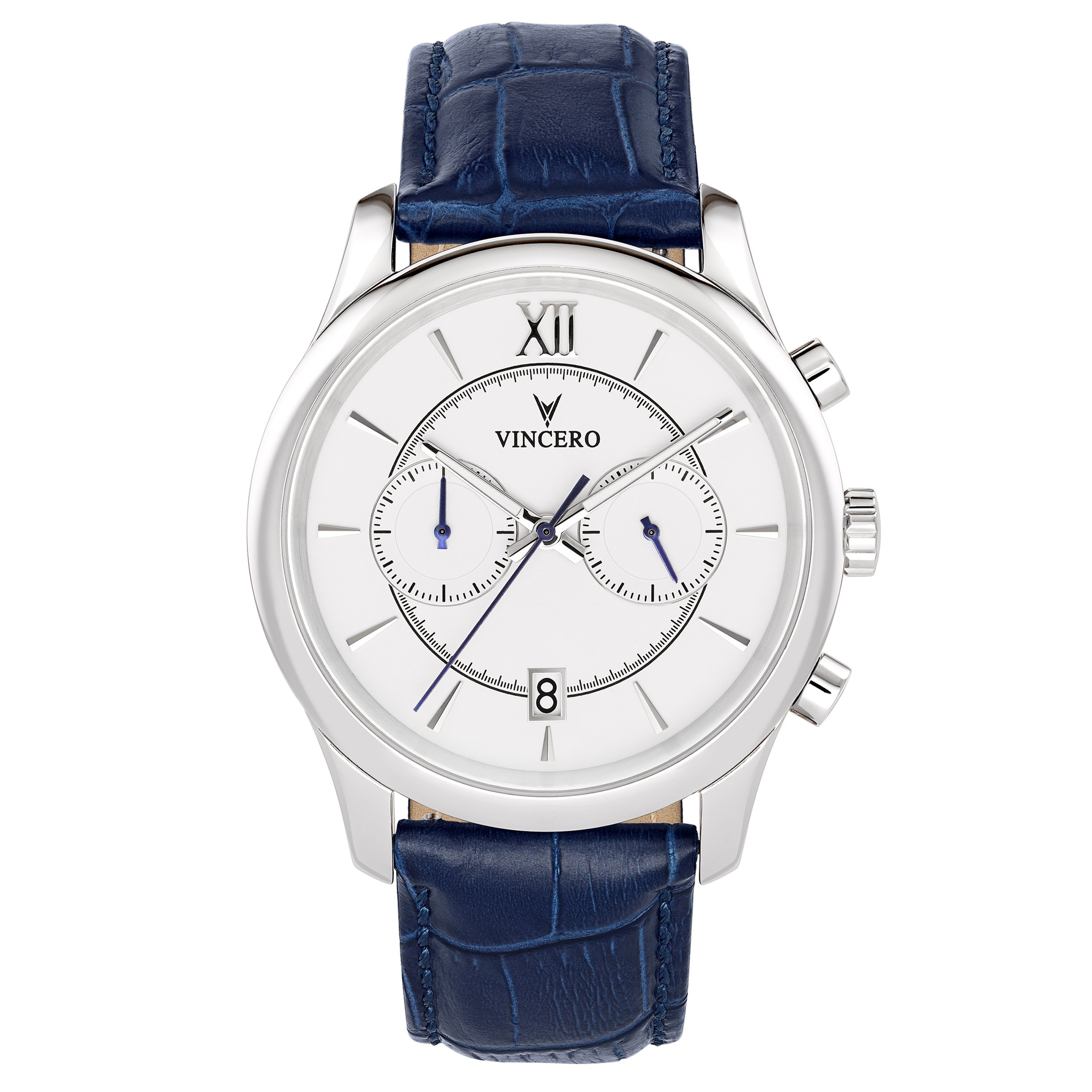Vincero Men's Bellwether White & Silver Chronograph Watch with Leather Band