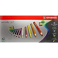 Multitalent potlood Stabilo woody etui (incl. puntenslijper en penseel). 18 EU gesorteerde kleuren