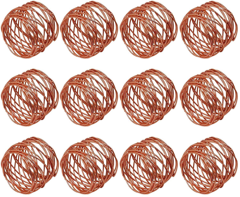Worldexplorer ハンドメイドラウンドメッシュ 銅ナプキンリングホルダー ダイニングテーブル パーティー 日常用 Pack of 12 ブラウン Pack of 12  B07KWKK931