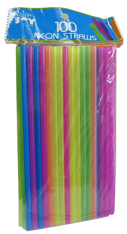 7 3//4 Inches, Jumbo Pack 400 Straws Food-Safe BPA-Free Plastic Neon Plastic Straws Crystalware