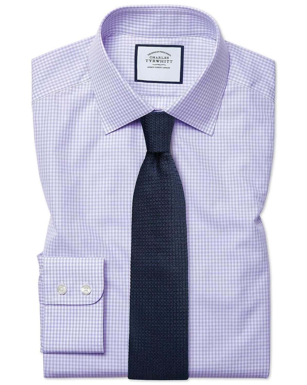 Chemise violets à Petits voiturereaux Vichy Extra Slim Fit   violets (Poignet Simple)   16.5   35