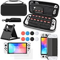 10 IN 1 Carrying Case for Nintendo Switch OLED Model, 2 x Screen Protectors, 3 IN 1 Protective Cover, Thumb Grip Caps x…