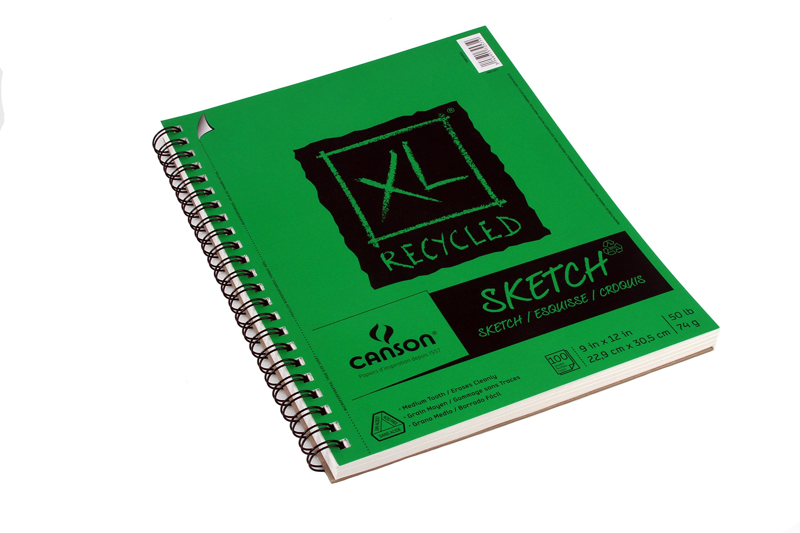 Canson XL Series Recycled Paper Sketch Pad, Side Wire Bound, 50 Pound, 9 x 12 Inch, 100 Sheets by Canson (Image #2)