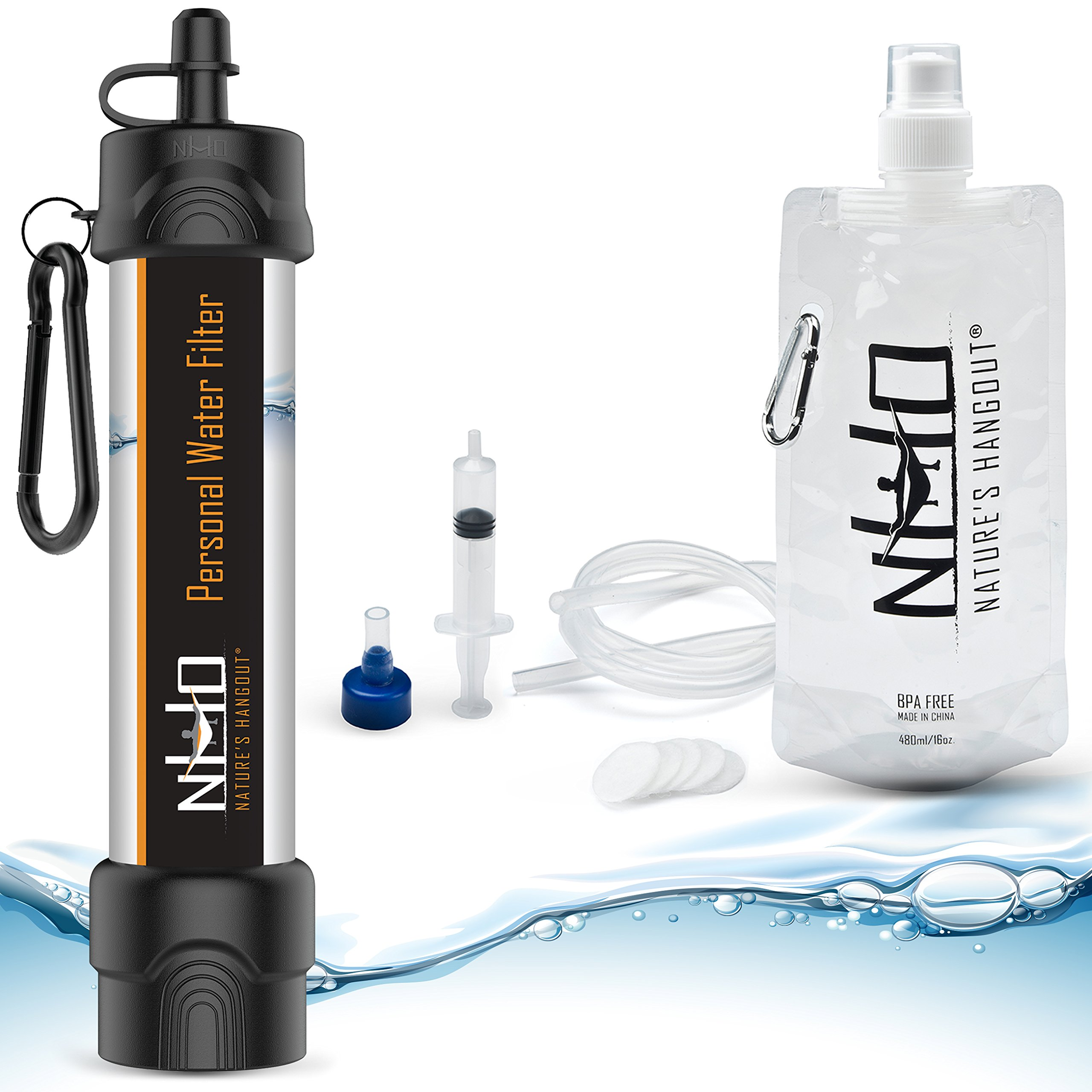 Nature's Hangout Personal Water Filter Straw for Camping, Hiking, Travel, and Emergency Preparedness with New .01 Nano Tech Filtration. Includes Boost Bag + Survival Tube + Flush Syringe