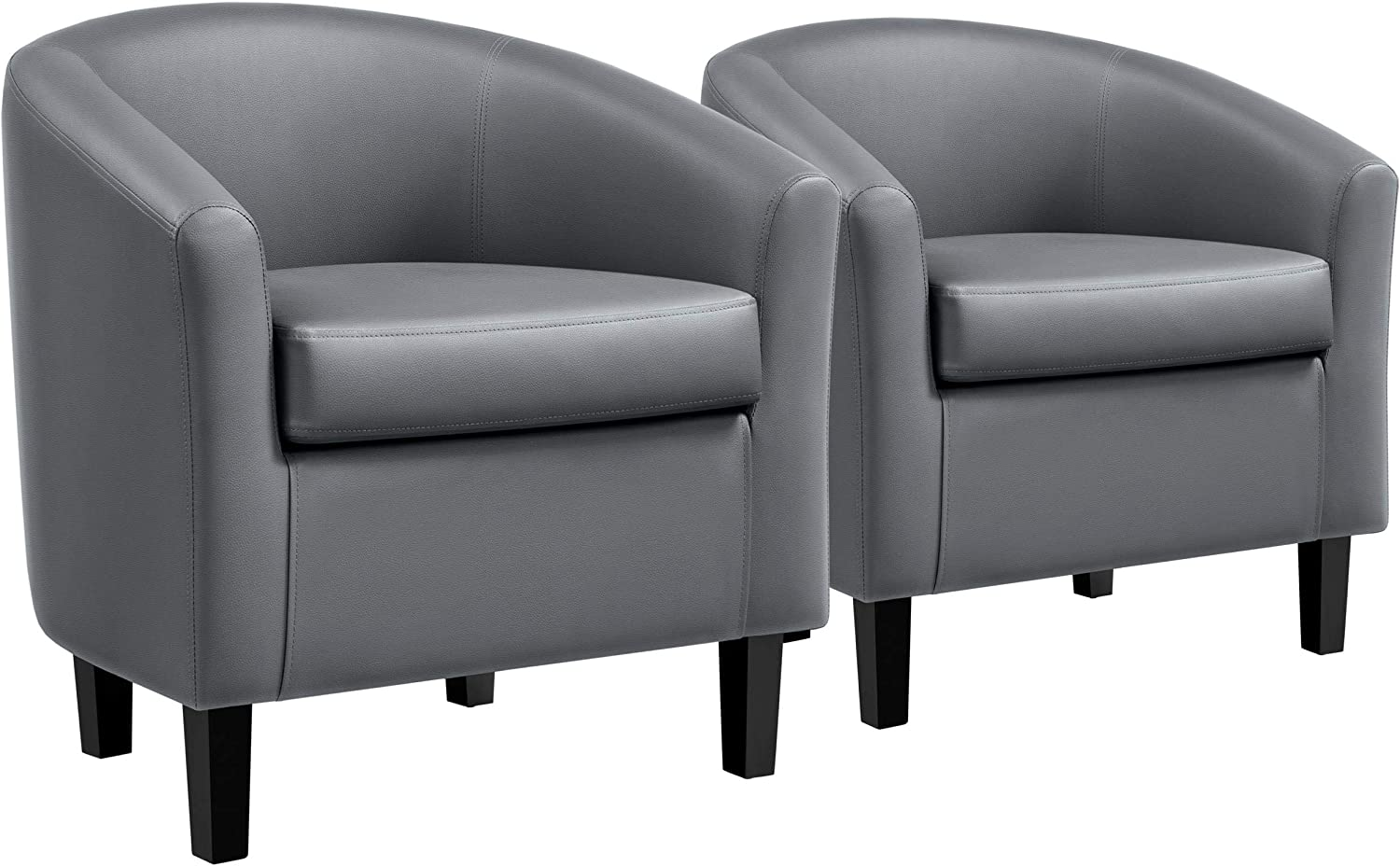 YAHEETECH Pack of 2 Barrel Chair Faux Leather Club Chair Accent Armchair Modern Style Tub Chair for for Living Room Gray