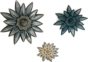 Metal Flower Wall Art Decor - Set of 3 – Rustic/Contemporary Multiple Layer Decorative Floral Sculptures – Living Room, Bedroom, Dining Room, Outdoors