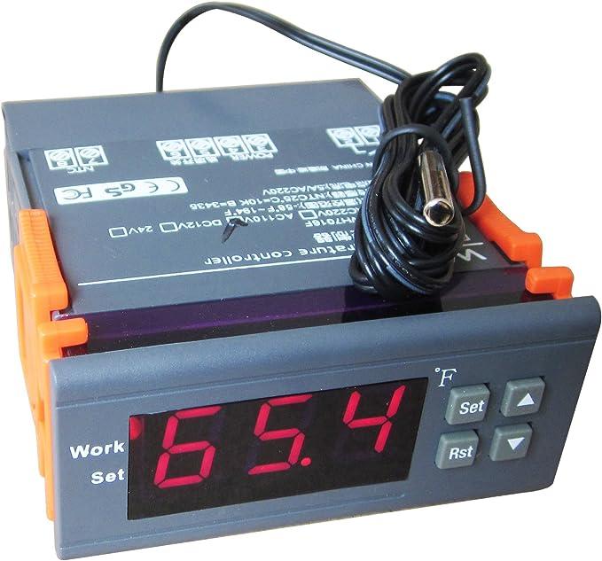 DC 12 V Digital F Fahrenheit Temp Thermostat Régulateur De Température Capteur Sonde