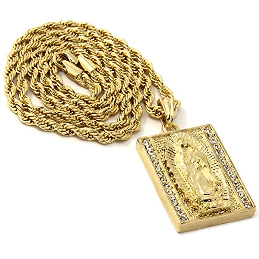 Amazon mens hip hop gold plated square virgin mary piece mens hip hop gold plated square virgin mary piece pendant 24quot 4mm rope chain necklace mozeypictures Image collections