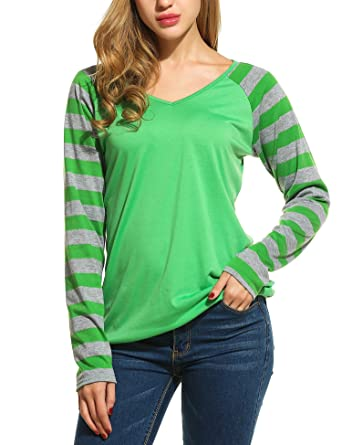 6f4d24e405 Beyove Women's Striped Print Long Sleeve Baseball Raglan Top T-Shirt  Blouses Green S