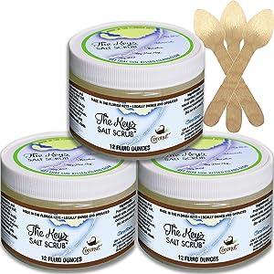 The Keys Salt Scrub : Premium Exfoliating Sea Salt Body Skin Scrubs - Made with Pure Florida Sea Salt and Organic Coconut Oil + FREE Wooden Spoon (Coconut, Bulk 3 Pack 12 oz)