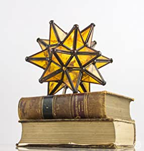 Mexicolour Moravian Star Table Lamp Stained Glass Yellow ...