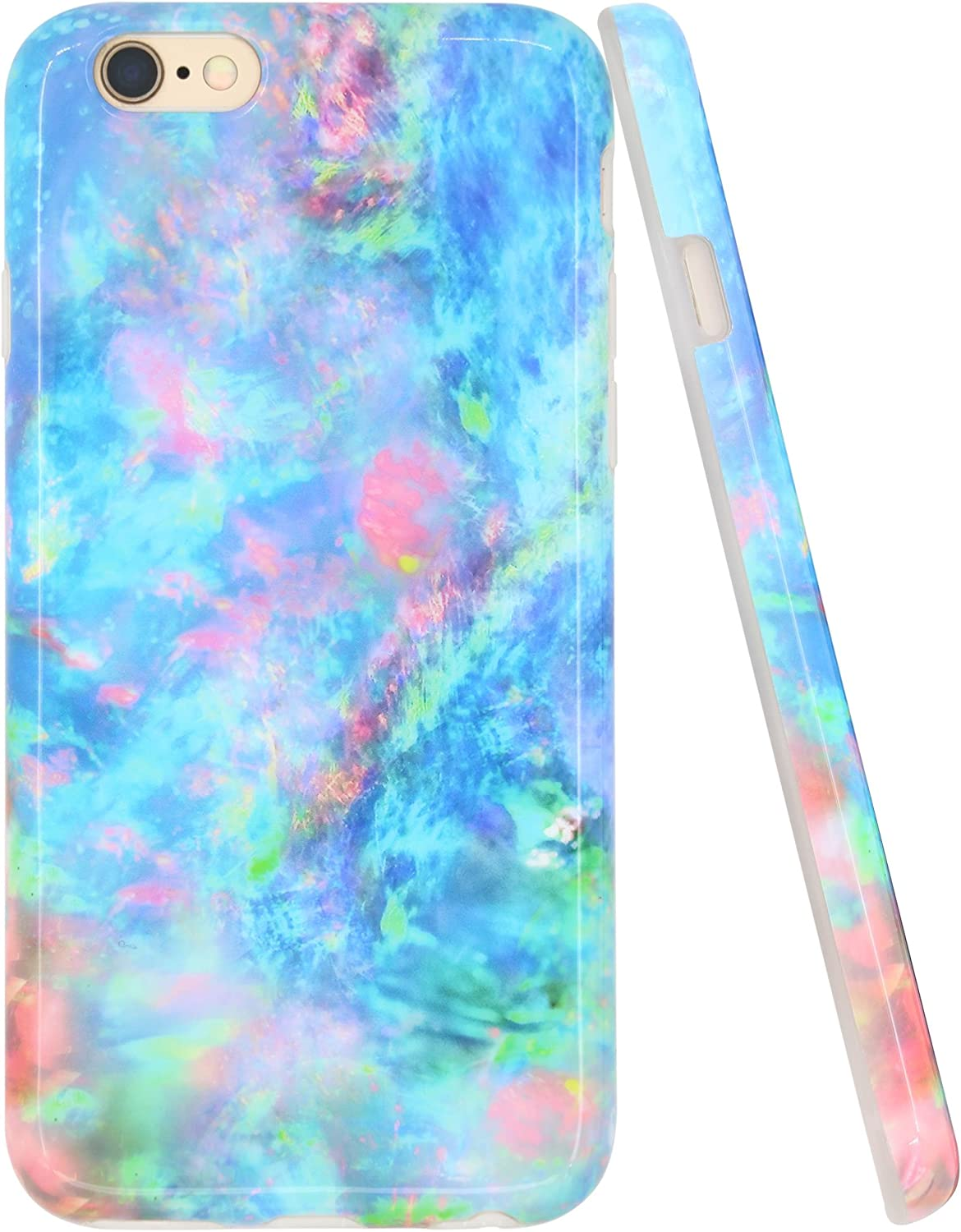 A-Focus Case for iPhone 6 Plus Opal Case, iPhone 6s Plus Case, Colorful Pink Green Blue Marble Pattern IMD Design Slim Shock Proof Silicone Cover Case for iPhone 6 Plus 6s Plus 5.5 inch Glossy Green