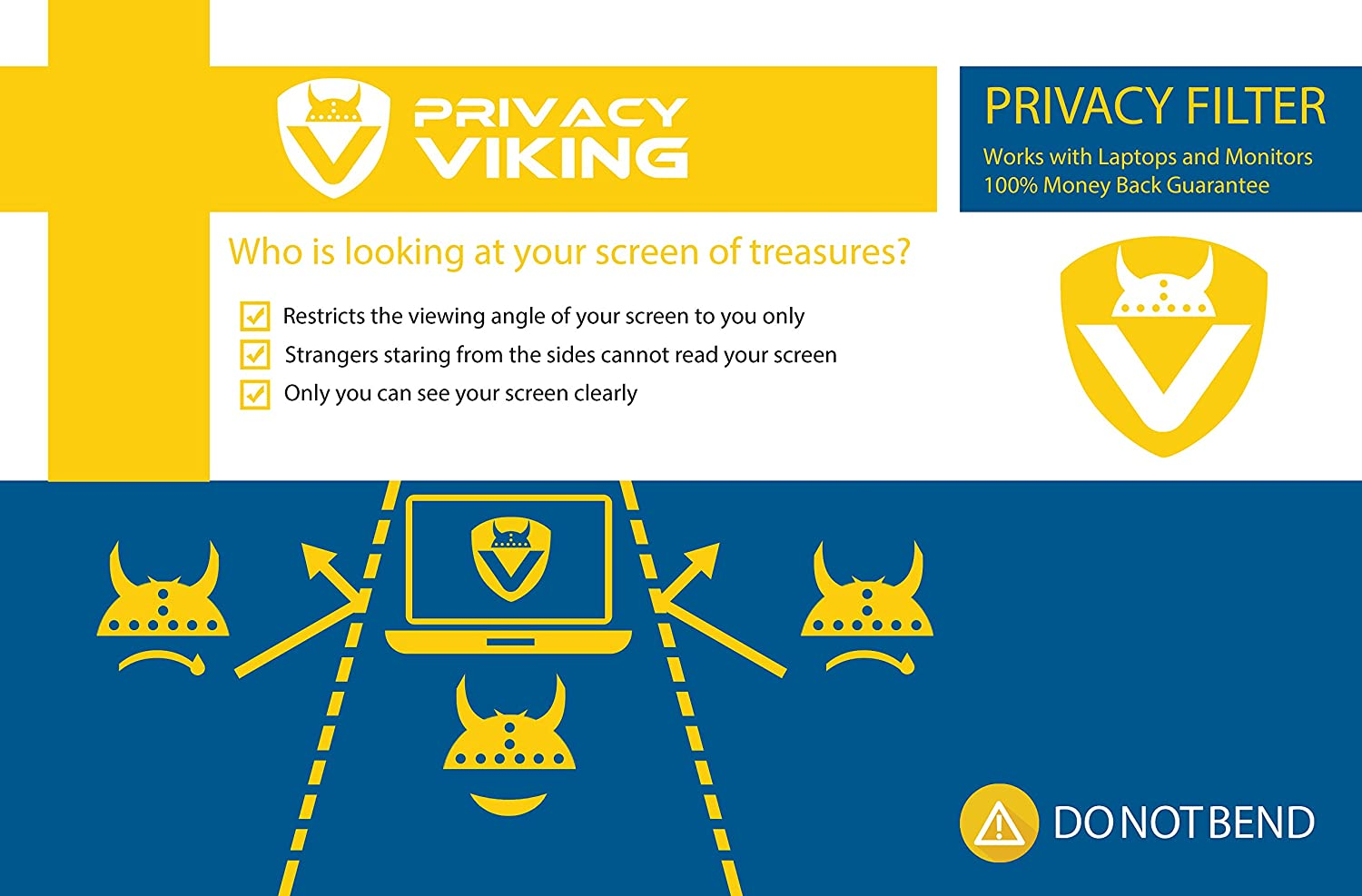 PrivacyViking Privacy Filter Privacy Screen for Monitors and laptops (15.0C3B)