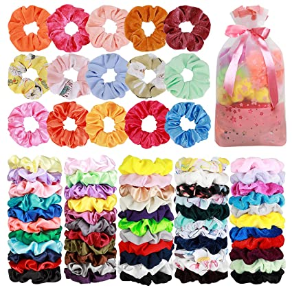 70 Pack Hair Scrunchies Hair Ties Elastic Hair Bands Scrunchy Hair Accessories for Women or Girls - 10 Solid Colored Chiffon, 10 Flowered Chiffon, 20 Solid Colored Velvet, 30 Solid Colored Satin