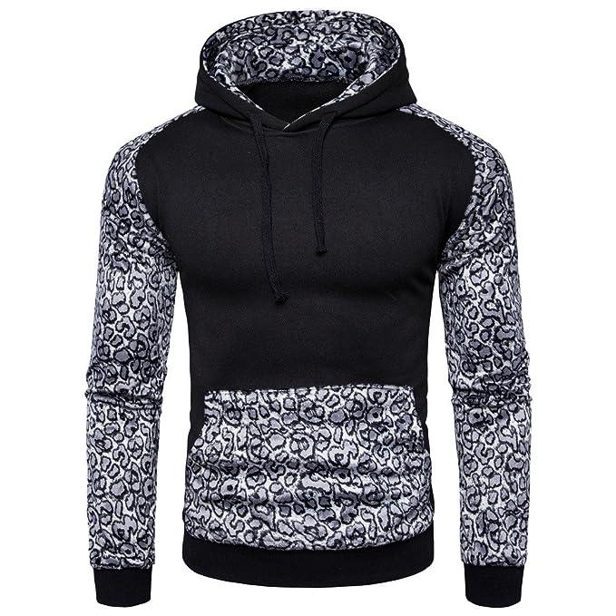 1f66b3bd88de9 Comfy Men Leopard Printed Essential Hoodie Top Outwear Coat Pullover Black  Large