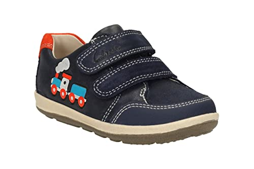 7385e6cd4b52 Clarks Infant Boys First Shoes Softly Tom - Navy Leather - UK Size 4E - EU