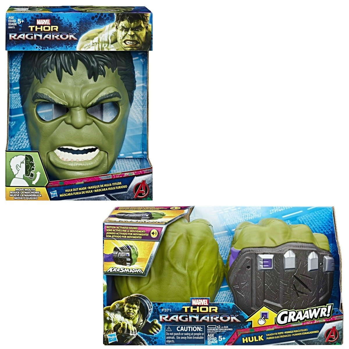 Amazon.com: Marvel Thor: Ragnarok Hulk Out Máscara & Smash ...