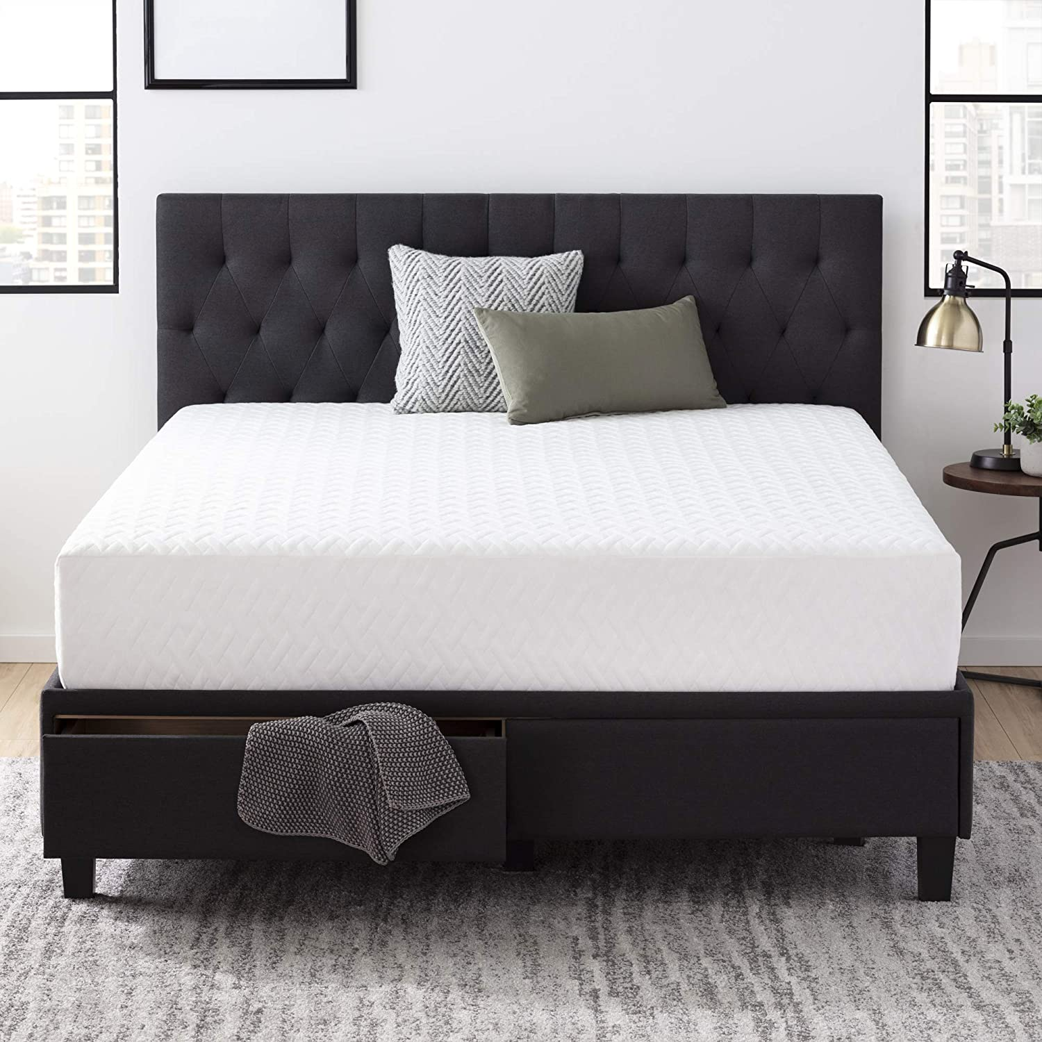 Everlane Home Windsor Upholstered Bed with Built-in Drawers - Slate - King & Everlane Home 10 Inch Gel Infused Memory Foam Mattress - King