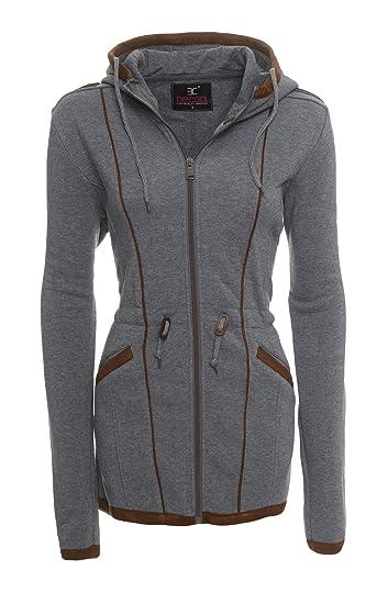 Be Cool Damen Übergangsjacke Herbst Winter Zipper Sweatjacke Kapuzen Jacke Mantel BC 1510B