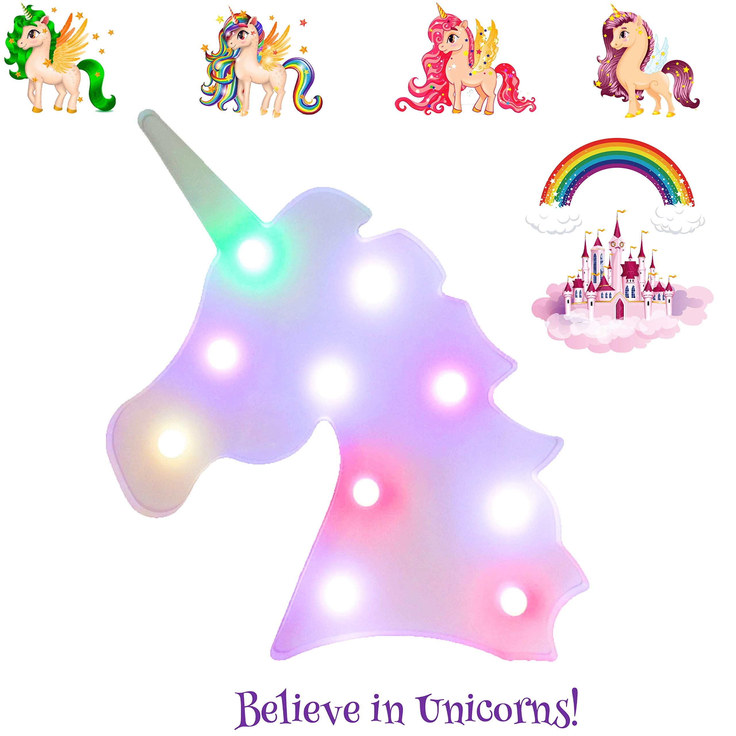 Unicorn Light for Girls Baby Kids - Includes 7 Decal Wall Stickers Unicorn Poem & Ebook - Color Changing Vibrant Lamp Emits Rainbow Light - Unicorn Decor Nightlight for Birthday Party Bedroom Nursery