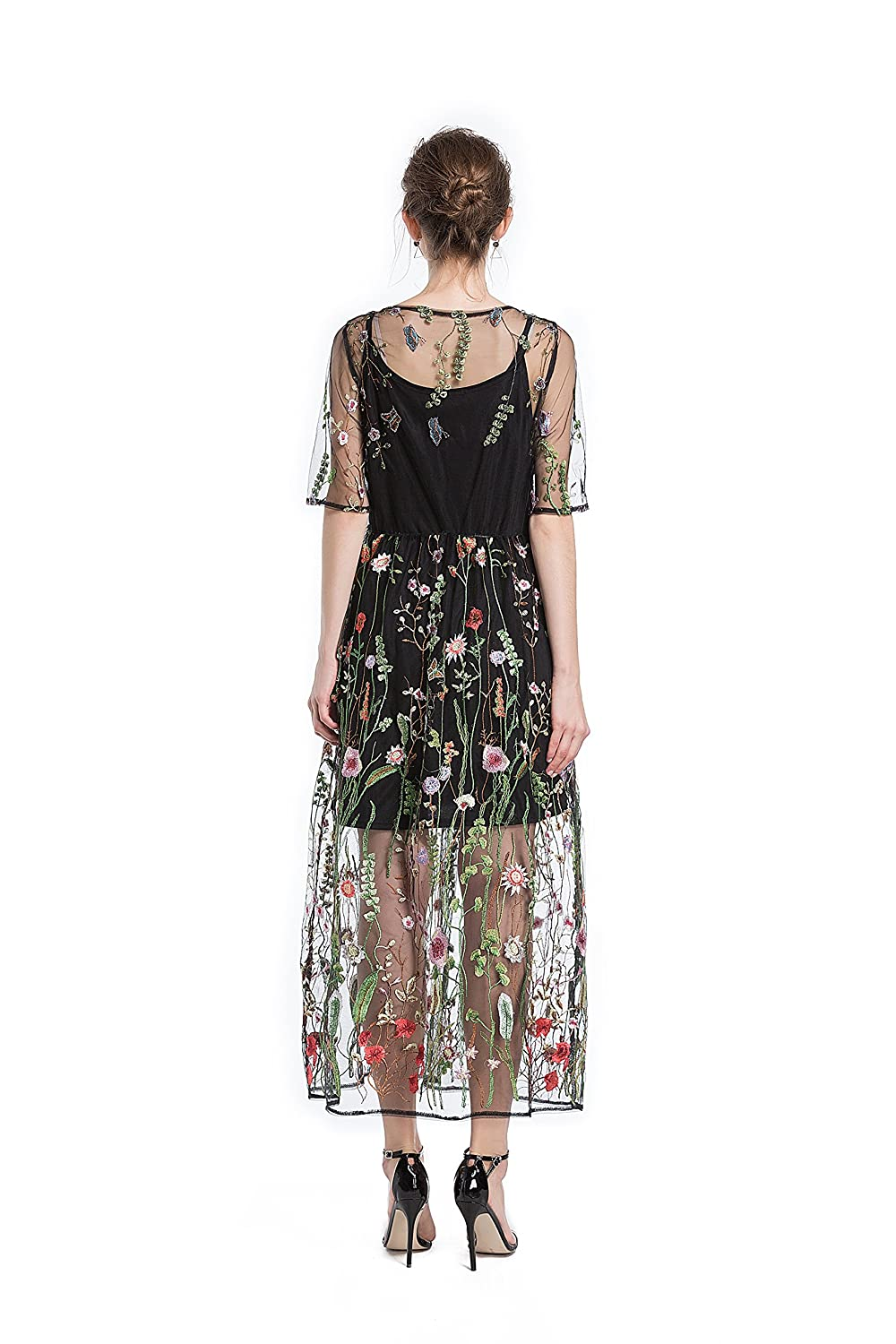 5633827d4cd BaronHong Women s Floral Embroidered Tulle Prom Maxi Dress With Cami Dress 3  4 Sleeves - Blue -  Amazon.co.uk  Clothing