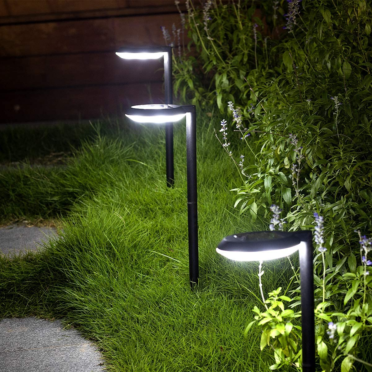 Outdoor Solar Path Lights Waterproof Landscape Pathway Light with 6 White LEDs Garden Lighting Decorative for Patio Driveway Backyard (Black-4 Pack)