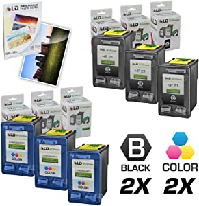 LD Remanufactured Ink Cartridge Replacement for HP 21 & 22 (3 Black, 3 Color, 6-Pack)