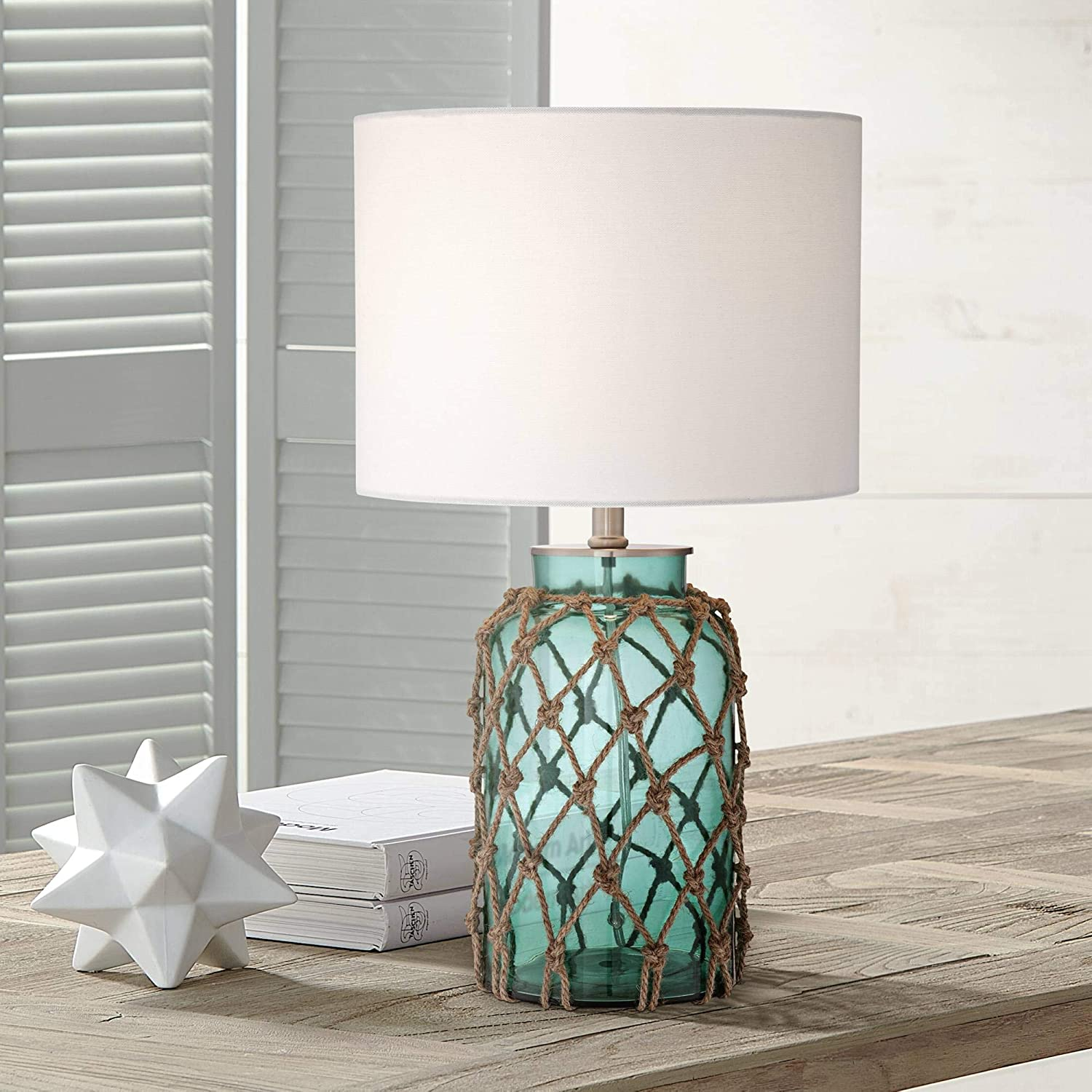 Crosby Nautical Accent Table Lamp Coastal Blue Green Glass Rope Net Off White Drum Shade for Living Room Family Bedroom