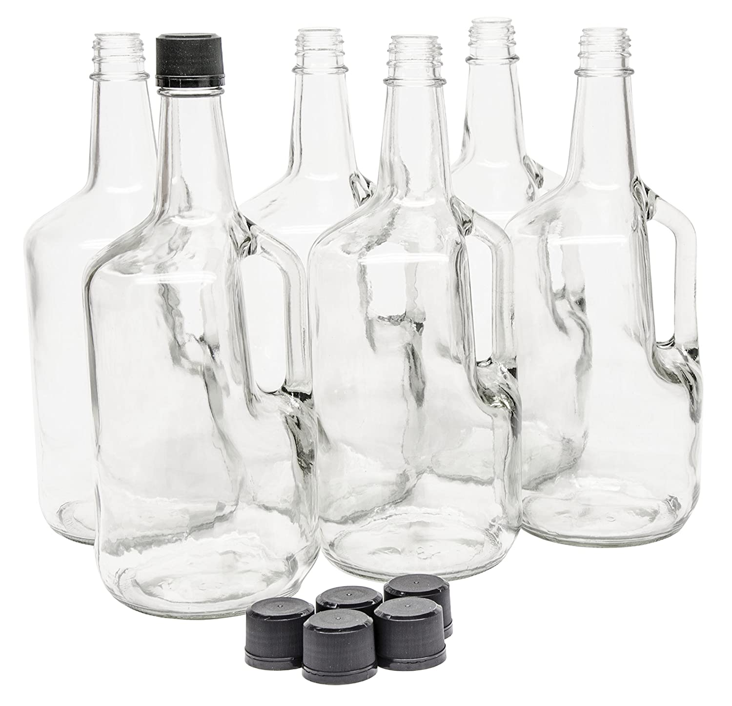 North Mountain Supply 1.75 Liter Clear Glass Jug with Handle and Black Plastic Tamper Evident Lids Case of 6